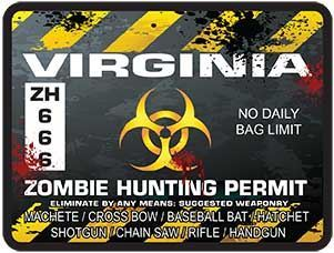 Zombie Hunting Permit Decal Danger Zone Style for Virginia