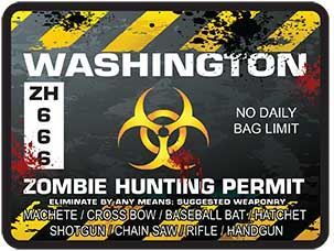 Zombie Hunting Permit Decal Danger Zone Style for Washington