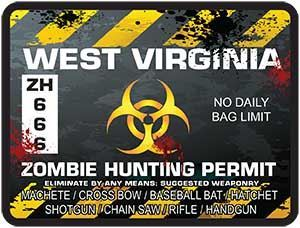 Zombie Hunting Permit Decal Danger Zone Style for West Virginia