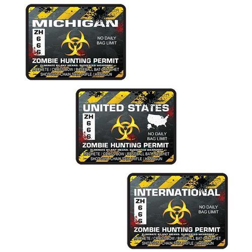 Zombie Hunting Permit Decals