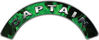 Captain Fire Fighter, EMS, Rescue Helmet Arc / Rockers Decal Reflective In Inferno Green Real Flames