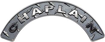 Chaplain Fire Fighter, EMS, Rescue Helmet Arc / Rockers Decal Reflective in Diamond Plate