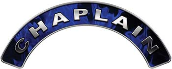 Chaplain Fire Fighter, EMS, Rescue Helmet Arc / Rockers Decal Reflective In Inferno Blue Real Flames