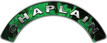 Chaplain Fire Fighter, EMS, Rescue Helmet Arc / Rockers Decal Reflective In Inferno Green Real Flames