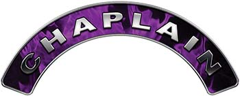 Chaplain Fire Fighter, EMS, Rescue Helmet Arc / Rockers Decal Reflective In Inferno Purple Real Flames