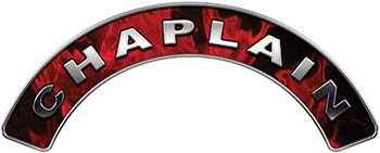 Chaplain Fire Fighter, EMS, Rescue Helmet Arc / Rockers Decal Reflective In Inferno Red Real Flames