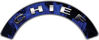 Chief Fire Fighter, EMS, Rescue Helmet Arc / Rockers Decal Reflective In Inferno Blue Real Flames