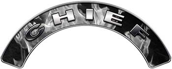 Chief Fire Fighter, EMS, Rescue Helmet Arc / Rockers Decal Reflective In Inferno Gray Real Flames