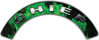 Chief Fire Fighter, EMS, Rescue Helmet Arc / Rockers Decal Reflective In Inferno Green Real Flames