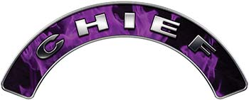 Chief Fire Fighter, EMS, Rescue Helmet Arc / Rockers Decal Reflective In Inferno Purple Real Flames