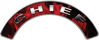 Chief Fire Fighter, EMS, Rescue Helmet Arc / Rockers Decal Reflective In Inferno Red Real Flames