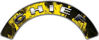 Chief Fire Fighter, EMS, Rescue Helmet Arc / Rockers Decal Reflective In Inferno Yellow Real Flames