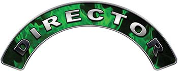 Director Fire Fighter, EMS, Rescue Helmet Arc / Rockers Decal Reflective In Inferno Green Real Flames