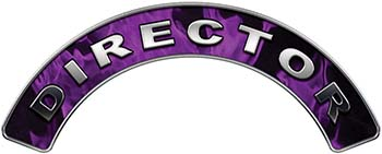 Director Fire Fighter, EMS, Rescue Helmet Arc / Rockers Decal Reflective In Inferno Purple Real Flames