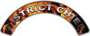 District Chief Fire Fighter, EMS, Rescue Helmet Arc / Rockers Decal Reflective In Inferno Real Flames