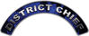District Chief Fire Fighter, EMS, Rescue Helmet Arc / Rockers Decal Reflective In Inferno Blue Real Flames