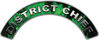District Chief Fire Fighter, EMS, Rescue Helmet Arc / Rockers Decal Reflective In Inferno Green Real Flames