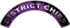 District Chief Fire Fighter, EMS, Rescue Helmet Arc / Rockers Decal Reflective In Inferno Purple Real Flames