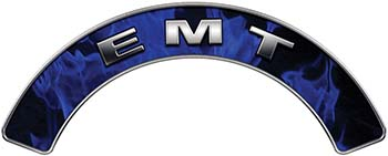 EMT Fire Fighter, EMS, Rescue Helmet Arc / Rockers Decal Reflective In Inferno Blue Real Flames