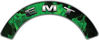 EMT Fire Fighter, EMS, Rescue Helmet Arc / Rockers Decal Reflective In Inferno Green Real Flames
