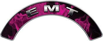 EMT Fire Fighter, EMS, Rescue Helmet Arc / Rockers Decal Reflective In Inferno Pink Real Flames