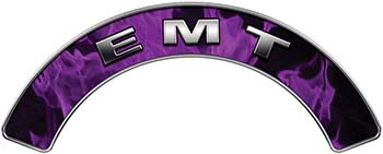 EMT Fire Fighter, EMS, Rescue Helmet Arc / Rockers Decal Reflective In Inferno Purple Real Flames