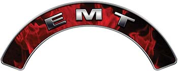 EMT Fire Fighter, EMS, Rescue Helmet Arc / Rockers Decal Reflective In Inferno Red Real Flames