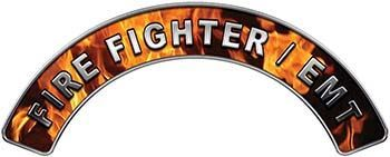 EMT Fire Fighter, EMS, Rescue Helmet Arc / Rockers Decal Reflective In Inferno Real Flames