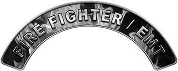 EMT Fire Fighter, EMS, Rescue Helmet Arc / Rockers Decal Reflective In Inferno Gray Real Flames