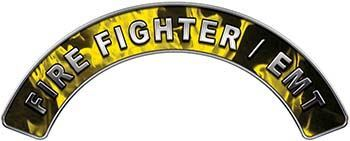 EMT Fire Fighter, EMS, Rescue Helmet Arc / Rockers Decal Reflective In Inferno Yellow Real Flames