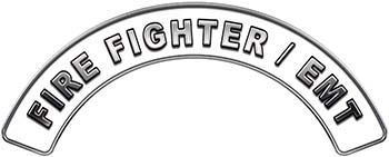 EMT Fire Fighter, EMS, Rescue Helmet Arc / Rockers Decal Reflective in White