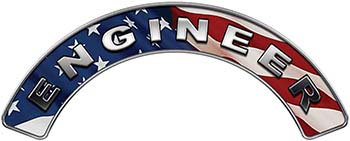 Engineer Fire Fighter, EMS, Rescue Helmet Arc / Rockers Decal Reflective With American Flag