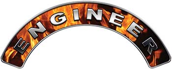 Engineer Fire Fighter, EMS, Rescue Helmet Arc / Rockers Decal Reflective In Inferno Real Flames