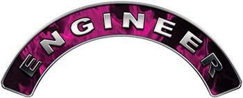 Engineer Fire Fighter, EMS, Rescue Helmet Arc / Rockers Decal Reflective In Inferno Pink Real Flames