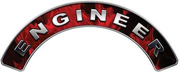 Engineer Fire Fighter, EMS, Rescue Helmet Arc / Rockers Decal Reflective In Inferno Red Real Flames