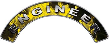 Engineer Fire Fighter, EMS, Rescue Helmet Arc / Rockers Decal Reflective In Inferno Yellow Real Flames