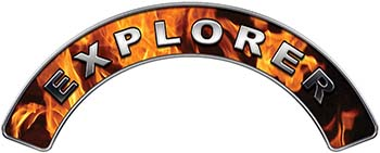 Explorer Fire Fighter, EMS, Rescue Helmet Arc / Rockers Decal Reflective In Inferno Real Flames