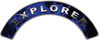 Explorer Fire Fighter, EMS, Rescue Helmet Arc / Rockers Decal Reflective In Inferno Blue Real Flames