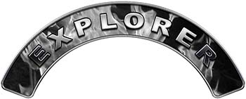 Explorer Fire Fighter, EMS, Rescue Helmet Arc / Rockers Decal Reflective In Inferno Gray Real Flames