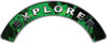Explorer Fire Fighter, EMS, Rescue Helmet Arc / Rockers Decal Reflective In Inferno Green Real Flames