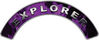 Explorer Fire Fighter, EMS, Rescue Helmet Arc / Rockers Decal Reflective In Inferno Purple Real Flames