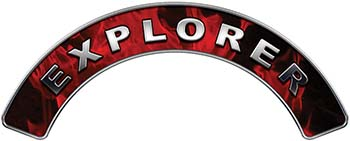 Explorer Fire Fighter, EMS, Rescue Helmet Arc / Rockers Decal Reflective In Inferno Red Real Flames