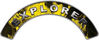 Explorer Fire Fighter, EMS, Rescue Helmet Arc / Rockers Decal Reflective In Inferno Yellow Real Flames