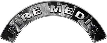 Fire Medic Fire Fighter, EMS, Rescue Helmet Arc / Rockers Decal Reflective In Inferno Gray Real Flames