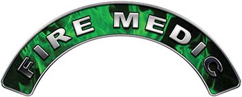 Fire Medic Fire Fighter, EMS, Rescue Helmet Arc / Rockers Decal Reflective In Inferno Green Real Flames