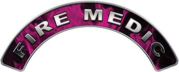 Fire Medic Fire Fighter, EMS, Rescue Helmet Arc / Rockers Decal Reflective In Inferno Pink Real Flames