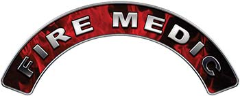 Fire Medic Fire Fighter, EMS, Rescue Helmet Arc / Rockers Decal Reflective In Inferno Red Real Flames