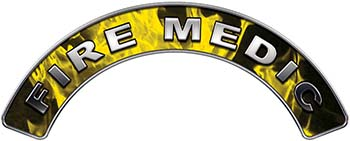 Fire Medic Fire Fighter, EMS, Rescue Helmet Arc / Rockers Decal Reflective In Inferno Yellow Real Flames