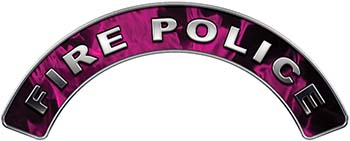 Fire Police Fire Fighter, EMS, Rescue Helmet Arc / Rockers Decal Reflective In Inferno Pink Real Flames