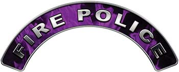 Fire Police Fire Fighter, EMS, Rescue Helmet Arc / Rockers Decal Reflective In Inferno Purple Real Flames